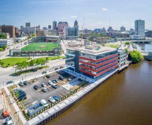 A bird's eye view of Milwaukee, Wisconsin.