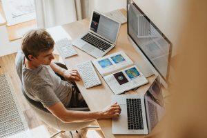 A man sitting at his computer.